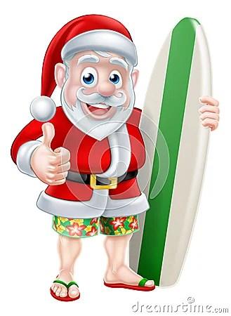Surfing Santa Stock Vector Image 57860003