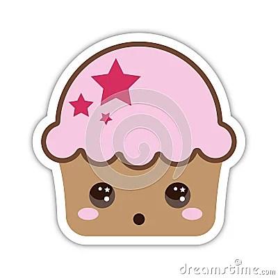 surprised cute cupcake stock