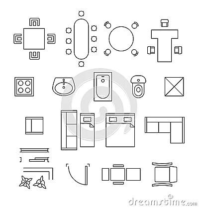 Symboles Linaires De Vecteur De Meubles Icnes De Plan D