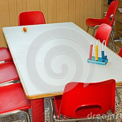 Old Office Chair And Table Revolving Amazon With Red Chairs Of A School Class For Children Stock Photo - Image: 48663425