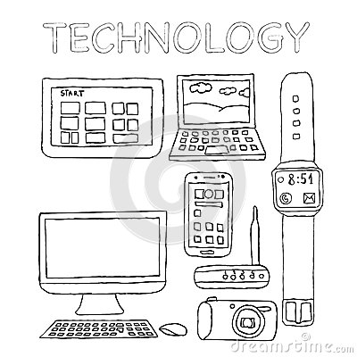 Technology Icons, Hand Drawn, Digital Camera, Wifi Router