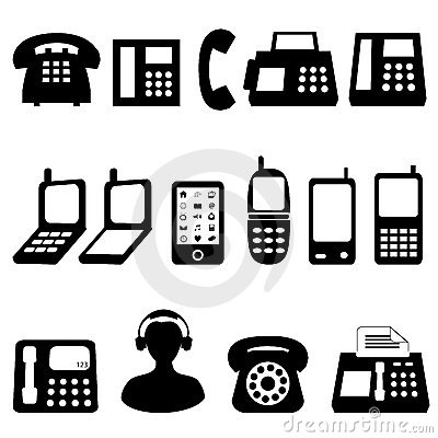 Telephone And Cell Phone Symbols Royalty Free Stock Photos - Image: 20662318