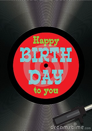 Template Greeting Card Happy Birthday On Vinyl Stock