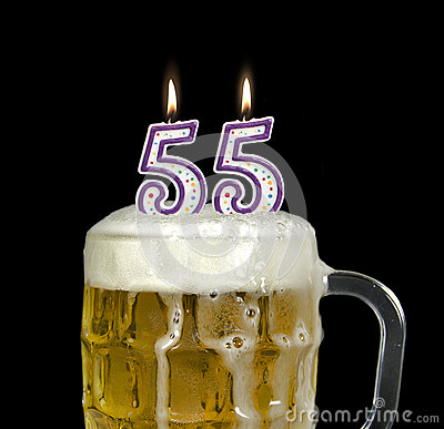 55th Birthday Candles In Beer Stock Photo Image 54233552