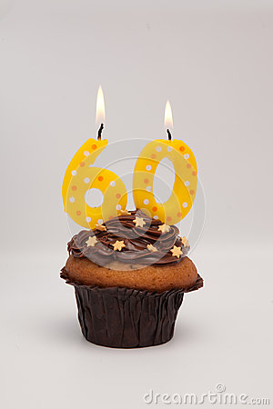 60th Birthday Muffin Cake With Candles Stock Photo Image