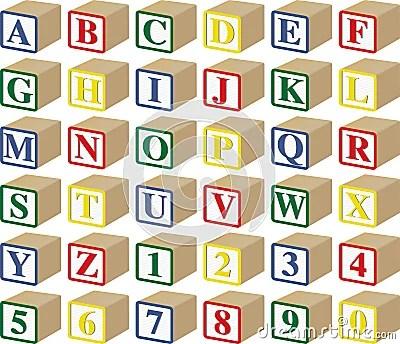 Three Dimensional Alphabet And Numeric Baby Blocks Royalty