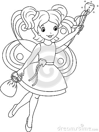 Tooth Fairy Coloring Page Stock Vector Image 42142800
