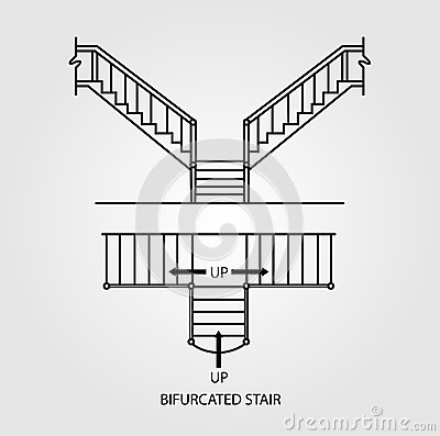 Top And Front View Of A Bifurcated Staircase Stock Vector