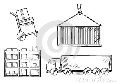Truck, Container, Hand Truck And Racks Stock Vector