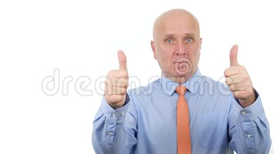 Trustful Businessman Stay Serious And Make Double Thumbs ...