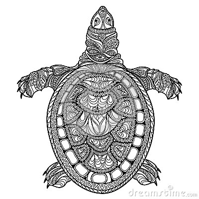 Turtle Isolated Zentangle Tribal Stylized Turtle Doodle