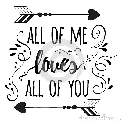Typography Romantic Poster About Love. Quote. Stock Vector