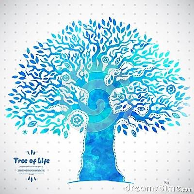 Unique Vector Watercolor Ethnic Tree Of Life Stock Vector