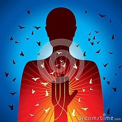 Vecteur spirituel de dame avec des oiseaux