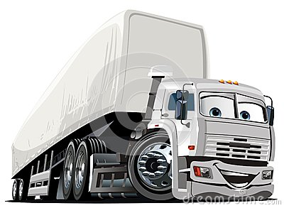 Vector Cartoon Semi Truck Royalty Free Stock Photos