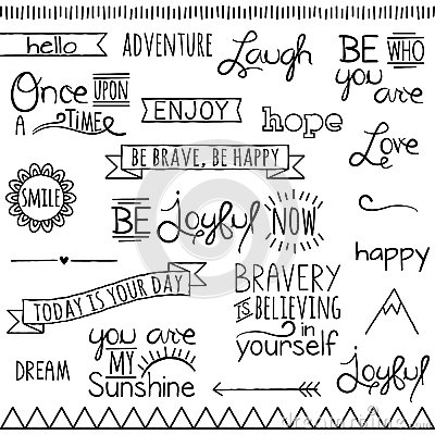 Vector Collection Inspirational Drawn Words Royalty Free
