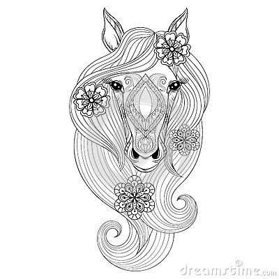 Vector Horse Coloring Page With Horse Face Hand Drawn