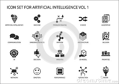 Vector Icon Set For Artificial Intelligence (AI) Concept