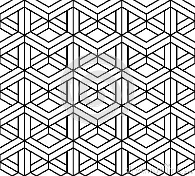 Vector Modern Seamless Sacred Geometry Pattern 3d, Black