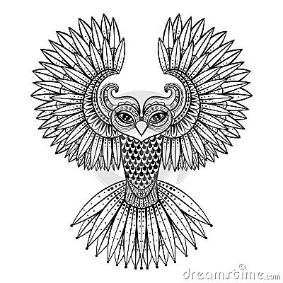 Vector Ornamental Owl, Ethnic Zentangled Mascot, Amulet