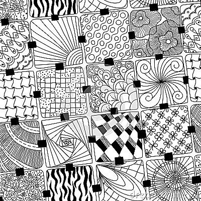 Vektor Kritzelt Muster Zentangle Vektor Abbildung Bild