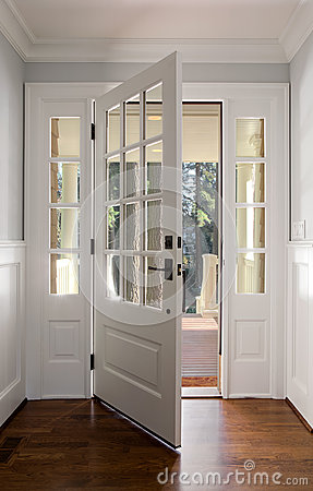 Vertical Shot Of An Open Wooden Front Door Stock Photo  Image 39161872
