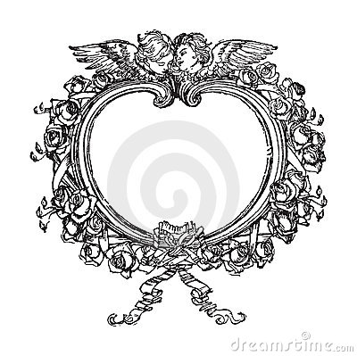 New 3d Animation Wallpaper Victorian Floral Frame With Angels Illustration Royalty