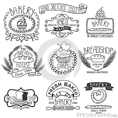 Vintage Bakery Labels.Outline Hand Sketched Stock Photo