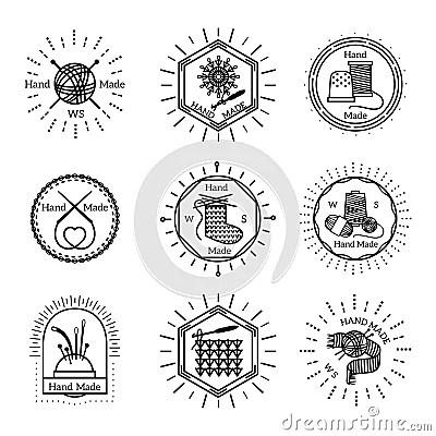 Vintage Handmade Badges And Logo Cartoon Vector
