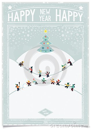 Vintage New Year Card With Playing Child Stock Image