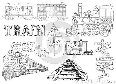 Vintage Set With Locomotive, Trains And Railway Theme