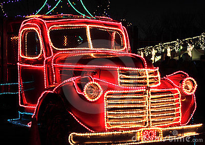 Vintage Truck Decorated Holiday Lights Stock Photos