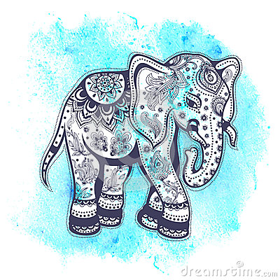 Vintage Watercolor Elephant Illustration Stock Vector