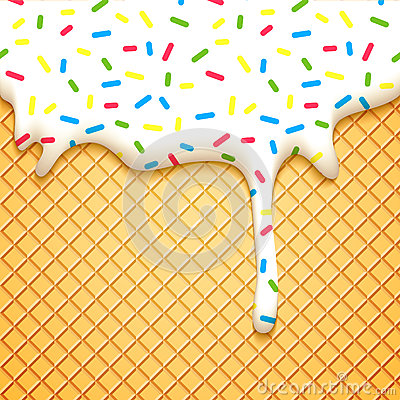 Cute Dessert Wallpaper Wafer Cake With Glaze Stock Vector Image 58970330