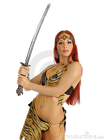 Warrior Woman Holding Sword In Her Hand Stock Photography