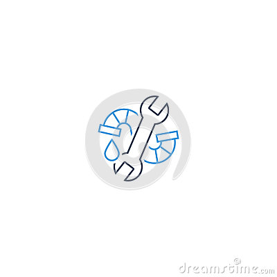 Water Drop, Pipe And Wrench Plumbing Icon And Logo Stock