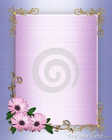 Wedding Invitation Border Purple Flowers Stock Image
