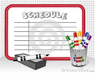 White Board Schedule, Markers, Eraser