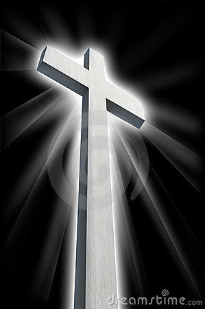 White Cross Shining In Darkness Stock Images  Image 16123294