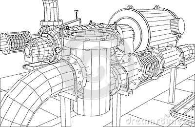 Wire-frame Industrial Equipment Oil Filter Stock Vector