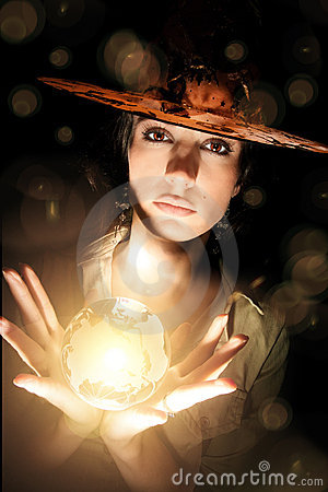 Witch With Crystal Ball Royalty Free Stock Images Image
