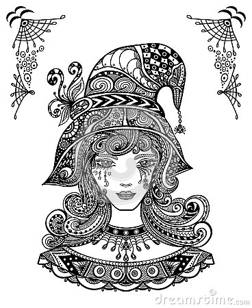 Witch In Hat In Zen Doodle Or Zen Tangle Decorative L