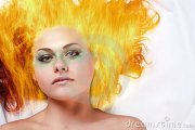 woman with fire hair stock