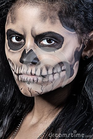 Woman With Mask Skull Halloween Face Art Royalty Free