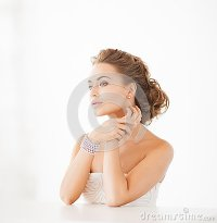 Woman With Pearl Earrings And Bracelet Stock Photography ...