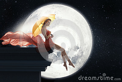 3d Girl Wallpaper Download Woman With Umbrella Over Full Moon Background Stock Photo