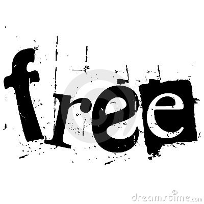 The Word Free Written In Grunge Cutout Style Stock Image