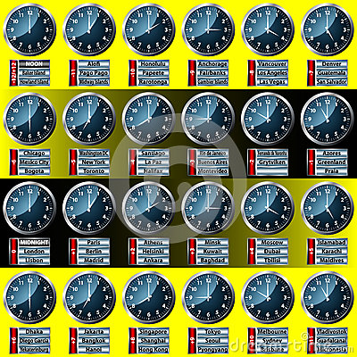 World Time Zone Clock Display Stock Images - Image: 32727244