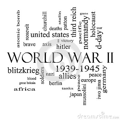 World War II Word Cloud Concept In Black And White Royalty