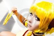 yellow hair. cosplay girl costume